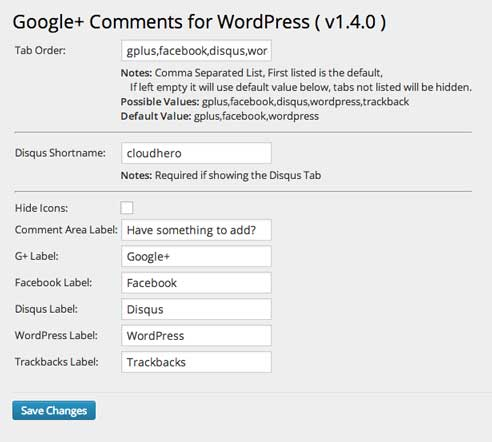 Conifure Google plus for wordpress comments