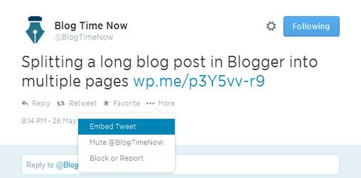 embedding Twitter tweets in wordpress