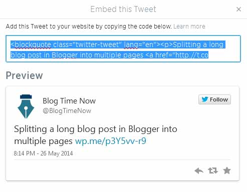 Embed tweets in wordpress and Blogger