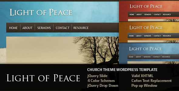 light of peach church wordpres theme