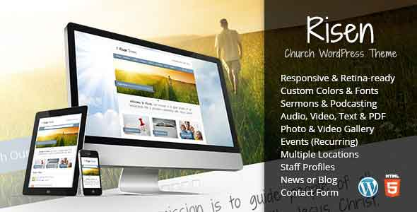 risen church wordpress theme responsive