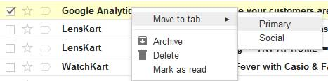 Moving emails from promotion to primary tab in Gmail